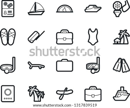 Bold Stroke Vector Icon Set - yacht vector, diving, rubber boat, golf, swimsuite, case, lounger, flippers, bungalow, palm, flip flops, suitcase, passport, mask, sailboat, tent, cruiser