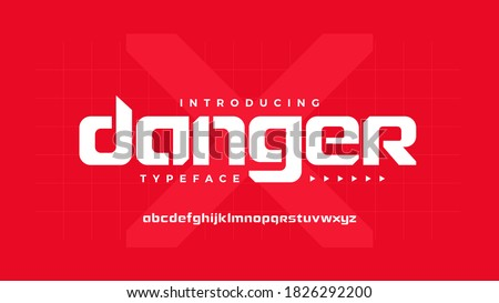 Bold strong stencil display futuristic tech font abstract geometric letter set danger typeface