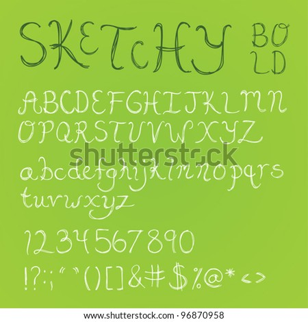 Bold, thick handdrawn sketchy font with numbers, symbols, and upper and lowercase letters.