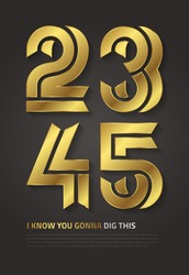 Bold vector graphic design numbers