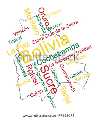 Bolivia map and words cloud with larger cities