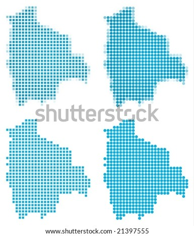 Bolivia map mosaic set. Isolated on white background.