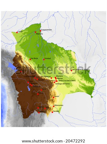 stock vector : Bolivia. Physical vector map, colored according to elevation,