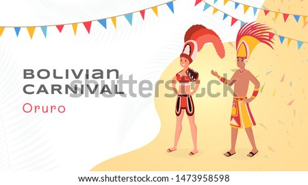 Bolivian carnival flat banner vector template. Happy latino entertainers in authentic aztec costumes cartoon characters. National south american holiday, traditional Oruro party poster layout