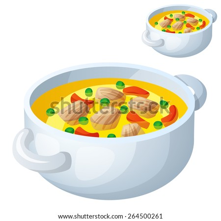 Bollion with meat and vegetables isolated on white background. Detailed Vector Icon. Series of food and drink and ingredients for cooking.