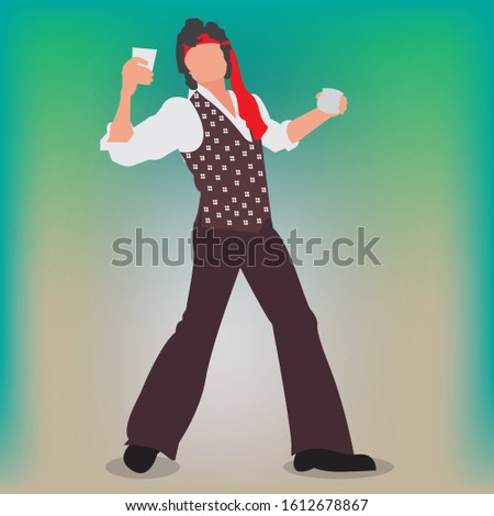 Bollywood actor in a dancing pose. Indian actor in a choreographed dance.