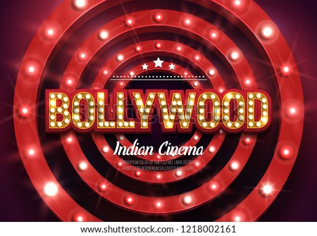 Bollywood indian cinema. Movie banner or poster in retro style. Vector illustration