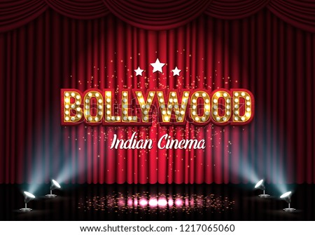 Bollywood indian cinema. Movie banner or poster with curtain and spotlights. Vector illustration.