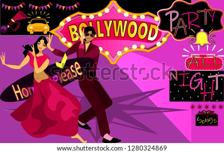 Bollywood, is the Indian Hindi-language film industry, based in the city of Mumbai.Cinematography and theater poster.Bollywood party songs.Wedding party.