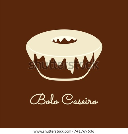 Bolo Caseiro is homemade cake in Portuguese. Cake icon vector. Foto stock ©