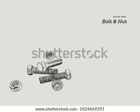 Bolt and nuts tool , hand draw sketch vector.