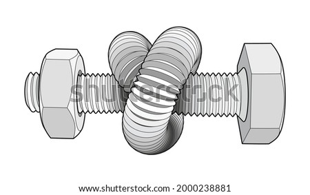 Bolt with nut bent into a knot. Twisted hex head screw. Vector illustration with editable outlines isolated on white background. Foto stock ©