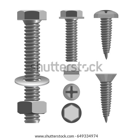 Bolts and nuts with different screw heads types realistic vector illustration