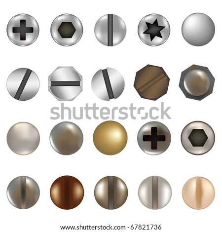Bolts And Screws, Isolated On White Background, Vector Illustration