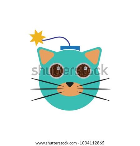 bomb cat logo icon design