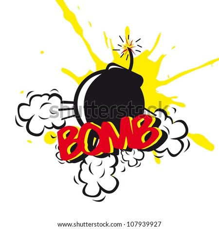 bomb comic over white