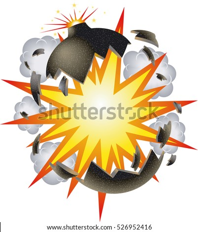 bomb explosion cartoon style