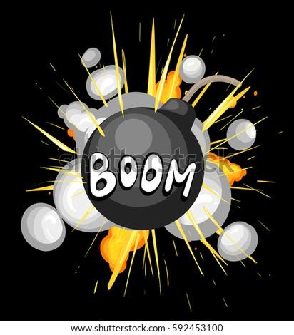 bomb explosion cartoon style