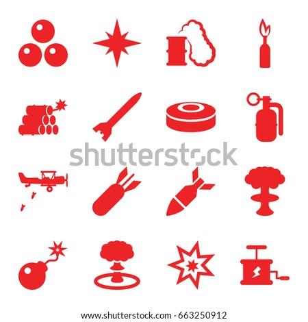 bomb icons set set of 16 bomb