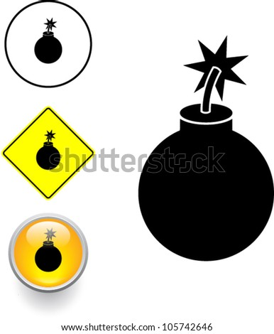 bomb symbol sign and button