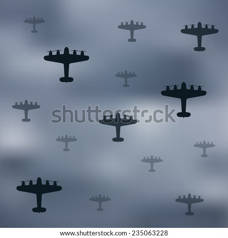 bomber planes on gray sky