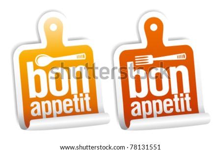 Bon appetit stickers set.