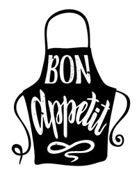 Bon appetit. Vector calligraphy. Cooking related typography. Quotes about kitchen. Cooking wordings.   Culinary Lettering.