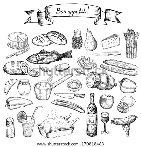 bon appetite set of vector