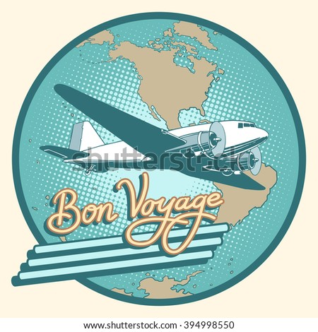 bon voyage abstract retro plane ...