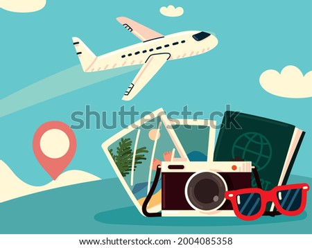 bon voyage in airplane vacations Foto stock ©