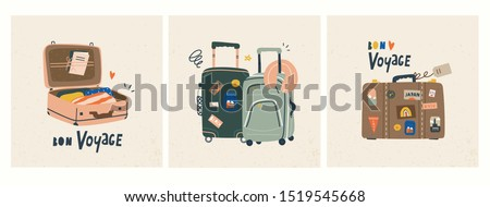 Bon voyage! Luggage bags, suitcases, baggage, travel bags. Vacation, holiday. Set of three hand drawn vector trendy illustrations. Cartoon style. Flat design. Greeting cards Foto stock ©