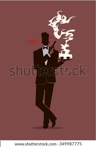 bond style waiter holding a