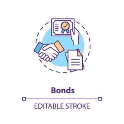 Bonds concept icon. Business investment strategy idea thin line illustration. Purchasing corporate or municipal bonds. Capital management. Vector isolated outline RGB color drawing. Editable stroke