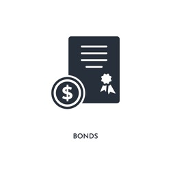 bonds icon. simple element illustration. isolated trendy filled bonds icon on white background. can be used for web, mobile, ui.