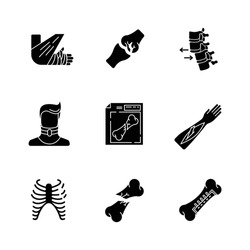 Bone fractures black glyph icons set on white space. X-ray scan. Spine dislocation. Broken neck. Surgery. Open fracture. Limb and body part injuries. Silhouette symbols. Vector isolated illustration