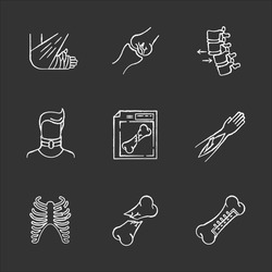 Bone fractures chalk white icons set on black background. X-ray scan. Spine dislocation. Broken neck. Surgery. Open fracture. Limb and body part injuries. Isolated vector chalkboard illustrations