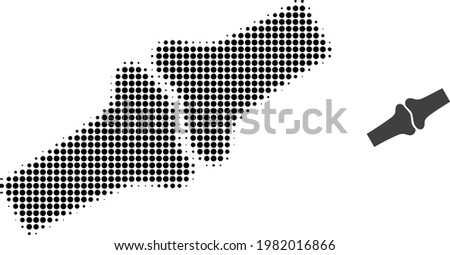Bone joint halftone dot icon illustration. Halftone array contains round points. Vector illustration of bone joint icon on a white background. Flat abstraction for bone joint symbol.