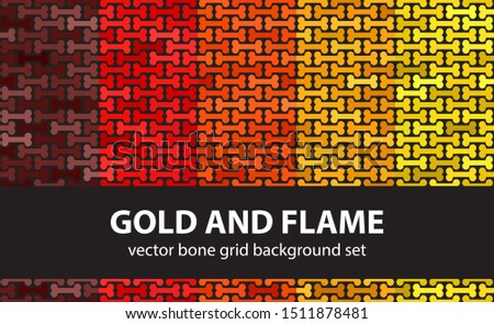 bone pattern set gold and flame