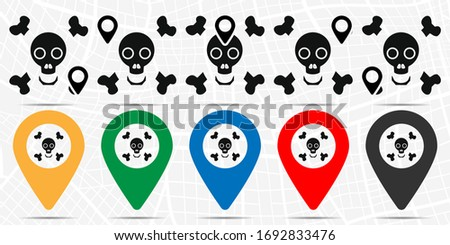 Bones and skull icon in location set. Simple glyph, flat illustration element of halloween theme icons
