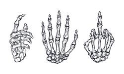 Bones hand vintage. Human skeleton bone hands. Vector skeleton hand.  (in packaging design, decoration, print, t-shirt design, etc.)