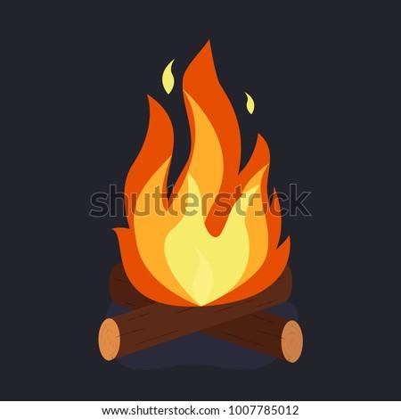 bonfire and burning woodpile