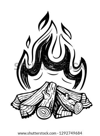 Bonfire sketch. Doodle of bonfire vector