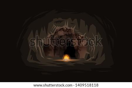 bonfire with landscape of