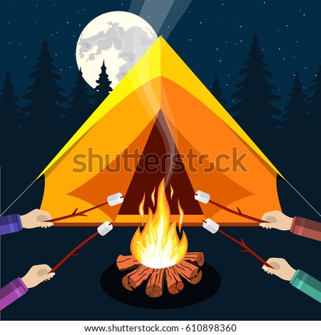 bonfire with marshmallow logs