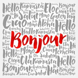 Bonjour (Hello Greeting in French) word cloud in different languages of the world