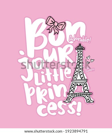 Bonjour, hello in French language slogan and Eiffel Tower drawing illustration design for fashion graphics, t shirt prints, posters, stickers etc Photo stock ©