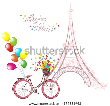 Bonjour Paris text with eiffel tower and bicycle Romantic postcard from Paris Vector illustration
