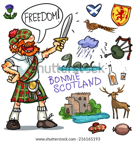 Bonnie Scotland cartoon collection, funny Scottish man with sword Сток-фото ©