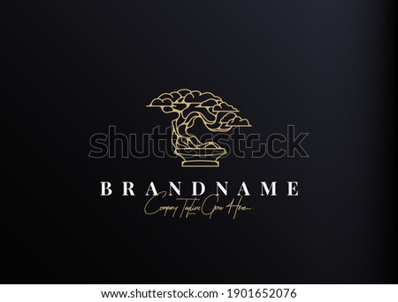 Bonsai Plant Logo Design Inspiration. Vector illustration of aesthetic bonsai and potted plants. Modern Icon Design Vector Template with Outline Style Photo stock ©