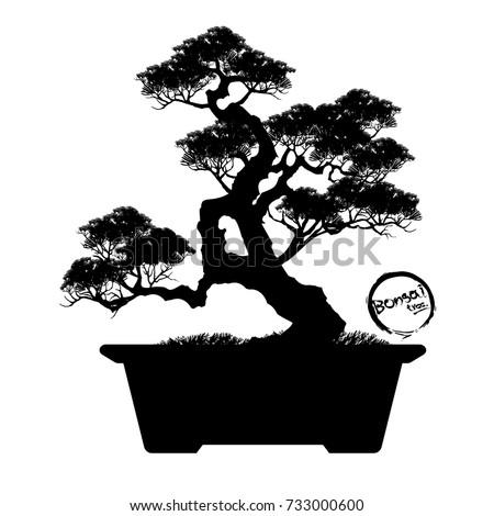 bonsai tree black silhouette